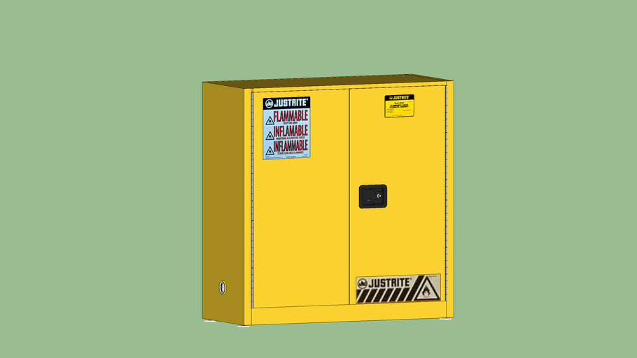 Safety First Series - Storage - Justrite Yellow Safety Flammables Cabinet - Type 1