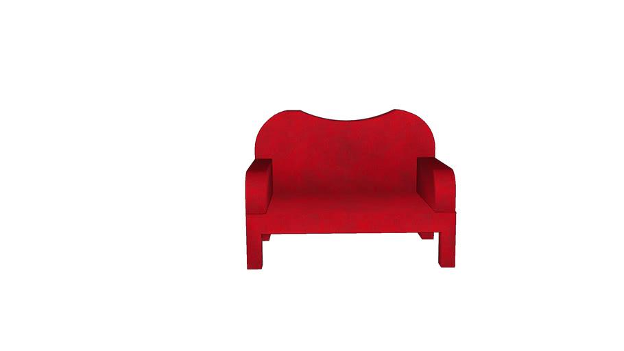 divanetto in pelle rossa