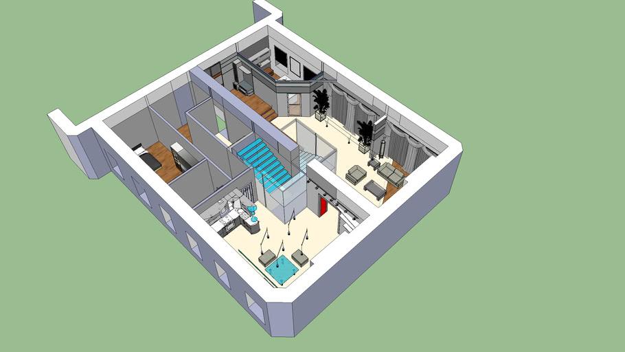 Flat plan with furniture