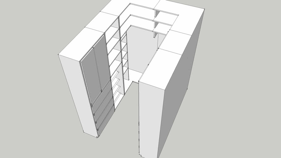 Small Walk In Closet Armario Pequeno Dimensions 1 80 X 2 20 X 2 40m 3d Warehouse