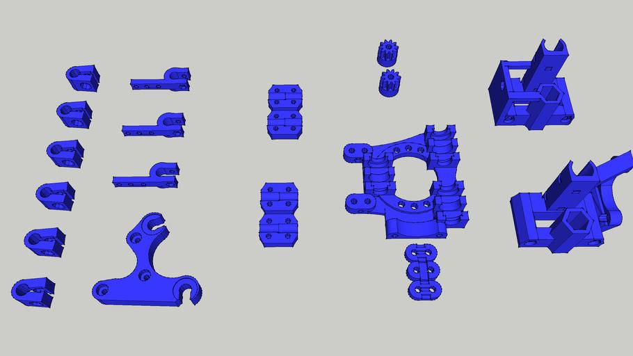 Piezas de plastico para la construccion de la prusa aire.