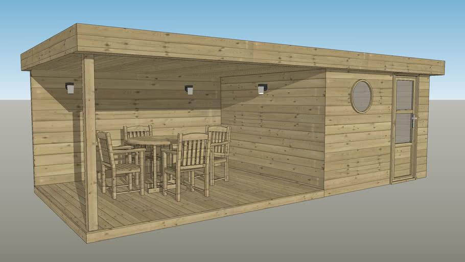 abri bois toit plat 320x320 avec terrasse couverte