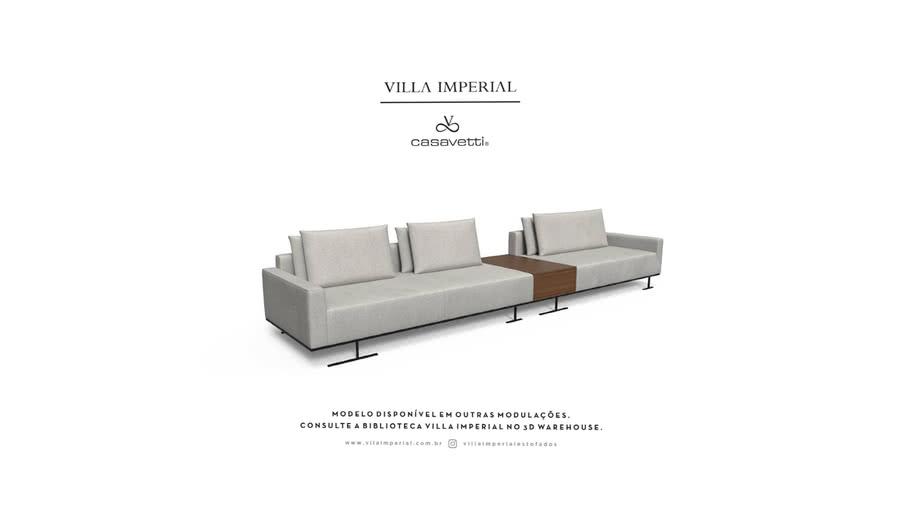 Sofá Gante - 3 Assentos mais Chaise e Gaveta | Villa Imperial - Casa Vetti