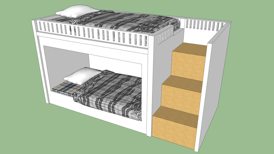 bunk bed blanket pillow stair