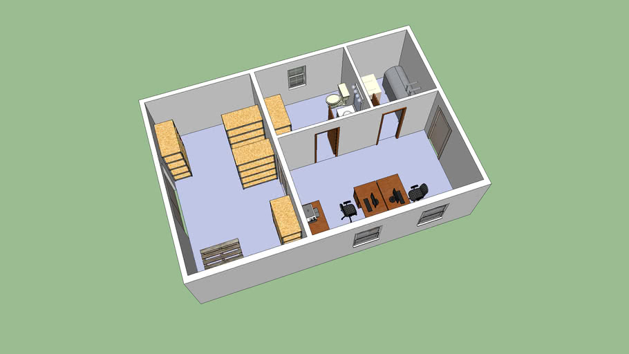 Small Office Building With Storage 3d Warehouse