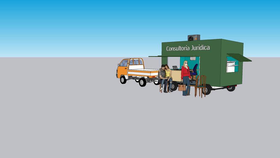 Oficina de leyes móvil con aire acondicionado y medio de transporte