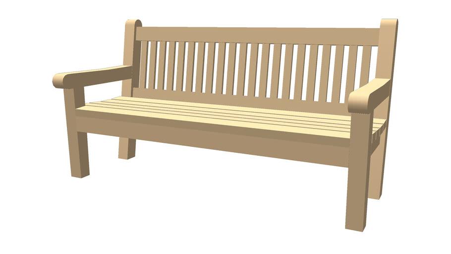 High back wood bench