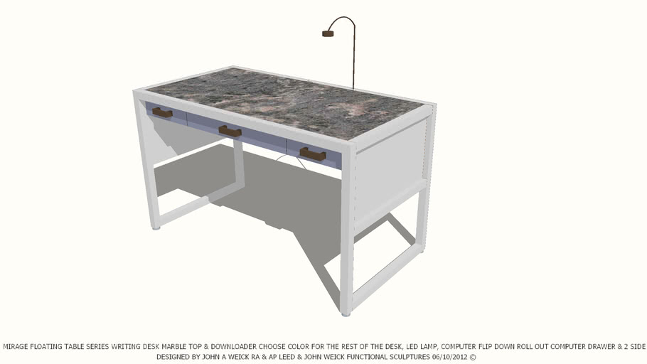 TABLE WRITING MARBLE TOP CHOOSE COLOR OF REST TABLE BY JOHN A WEICK RA