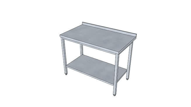 Stainless steel table with plain shelf