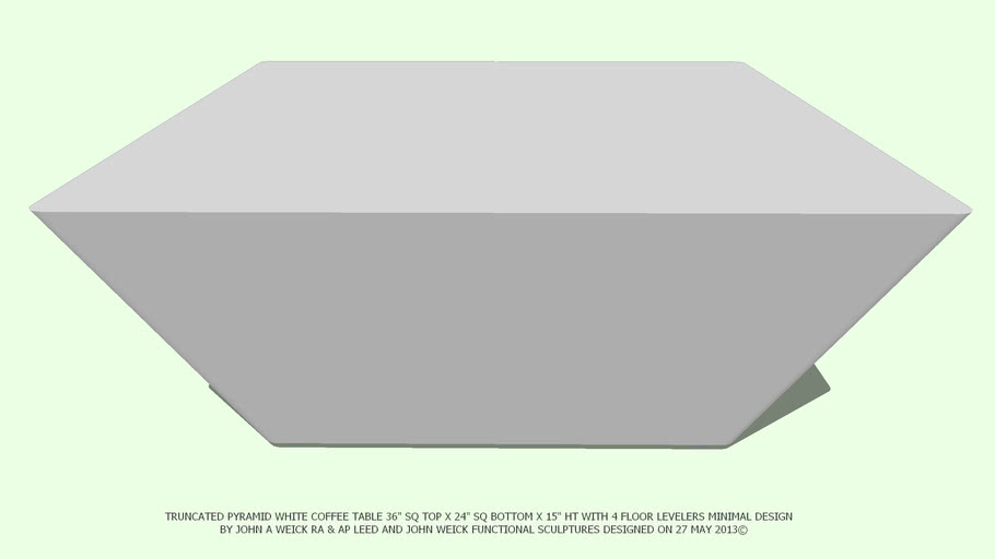 TABLE COFFEE 36SQ TRUNCATED WHITE NO ADDED TOP BY JOHN A WEICK RA