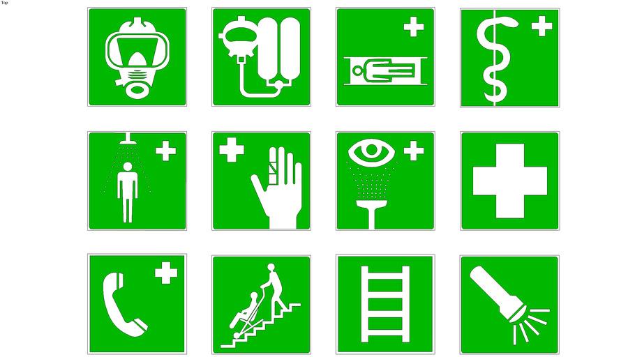 Evacuatie-EHBO pictogrammen
