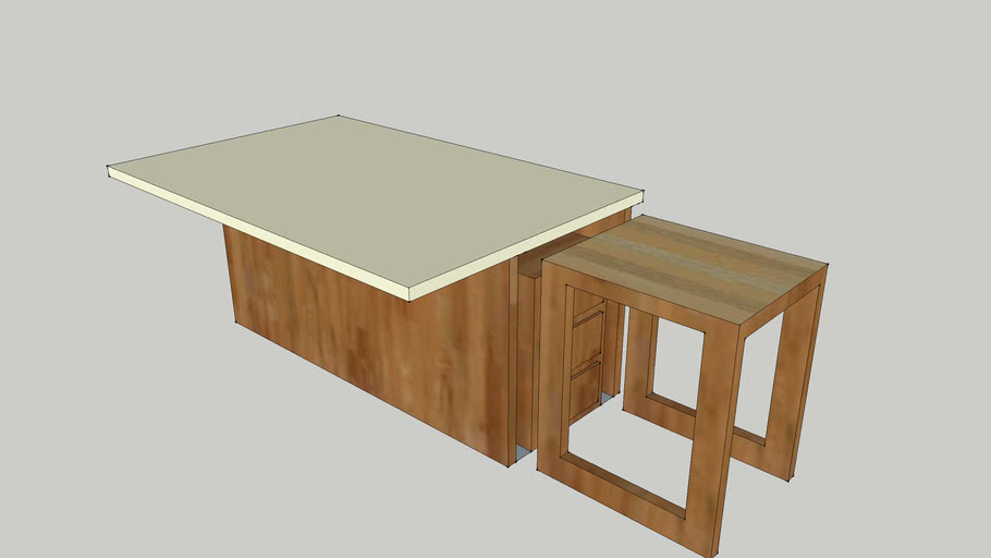 Kitchen Island with Pull-out Cutting Board Table | 3D Warehouse