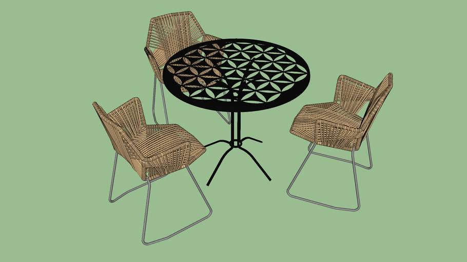 Cadeira e mesa área externa