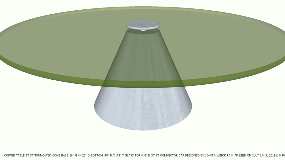 Coffee Table Metal Truncated Cone Gl