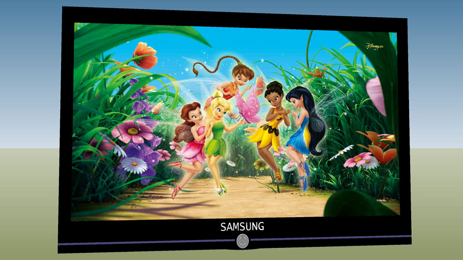 flat screen TV with tinkerbell