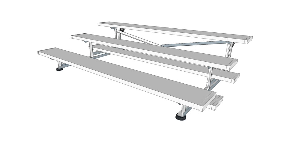 3 Row Tip And Roll Bleachers Show And Stow Series 7 5ft 3d Warehouse