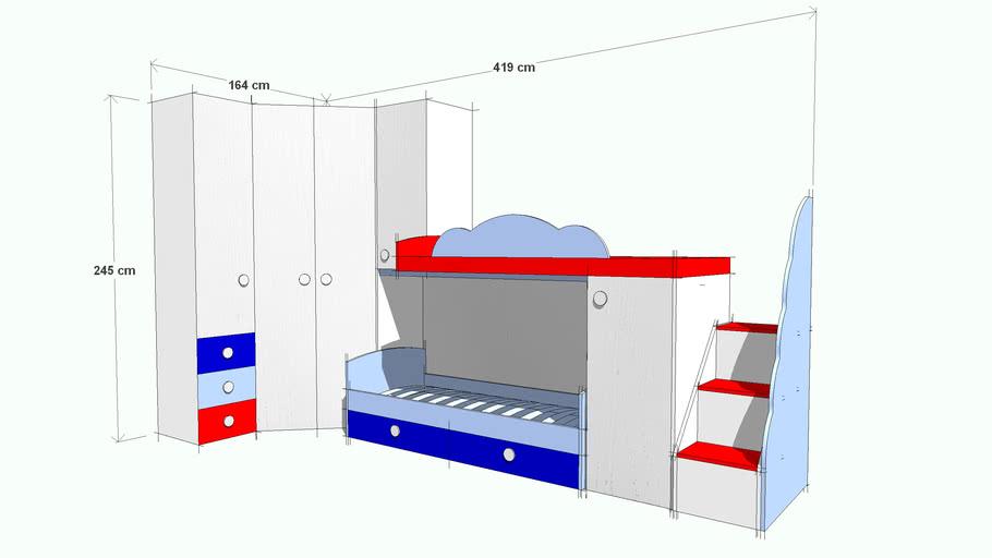 Loft bedroom with wardrobe