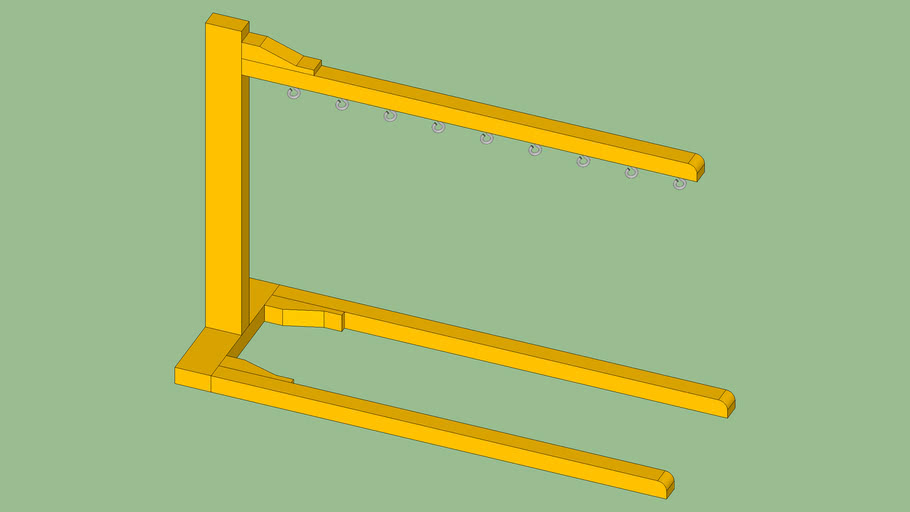 Single Tree Hanger for Drying Wood Parts After Applying Polyurethane