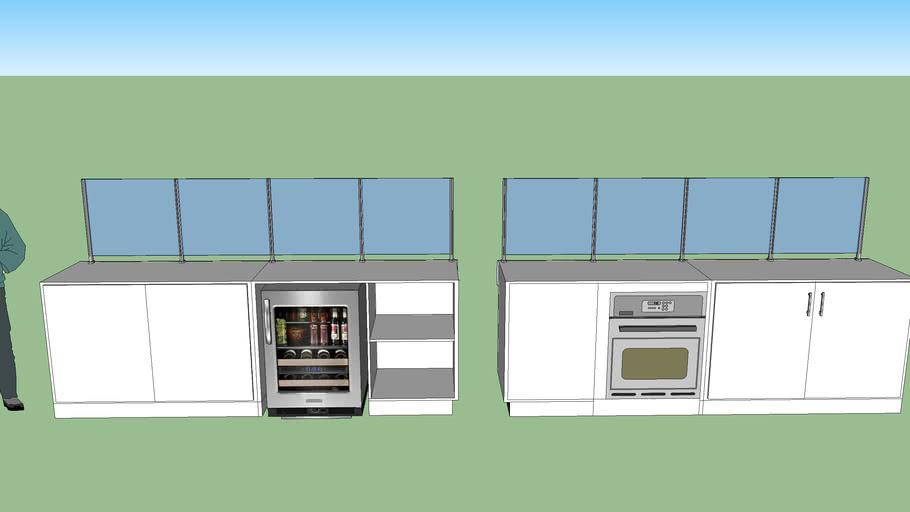 mueble con division de acrilico y escondite de horno y refri