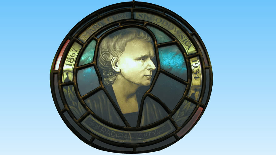 Marie Curie Medallion Stain Glass Window