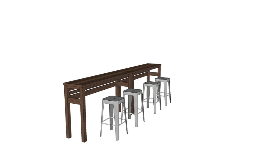 Hillside Hightop Wood Table by Red Tower Design (with metal stools)