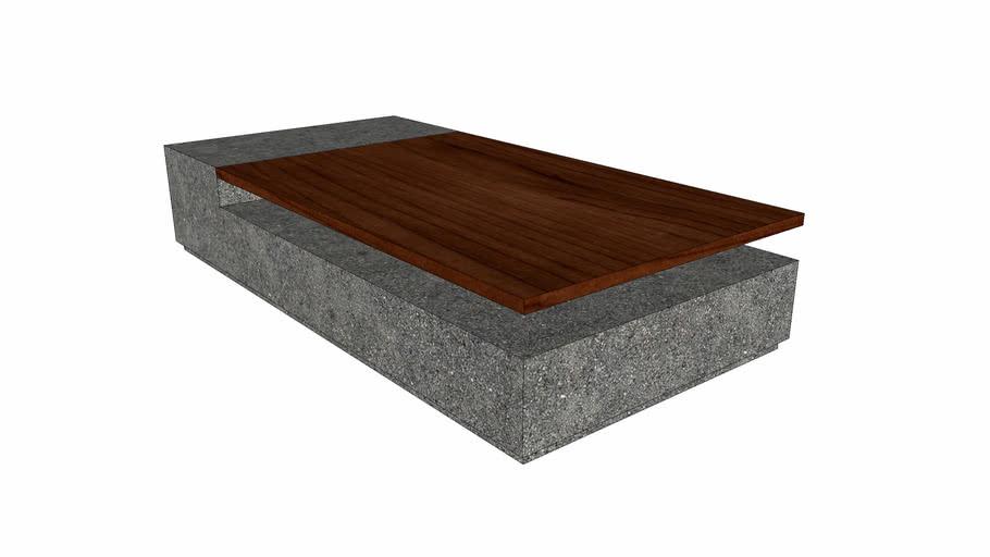Coffe Table - astarro Couchtisch 23 aus Beton mit Massivholz - Perspektive