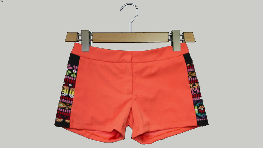Orange Stretch Aztec Shorts