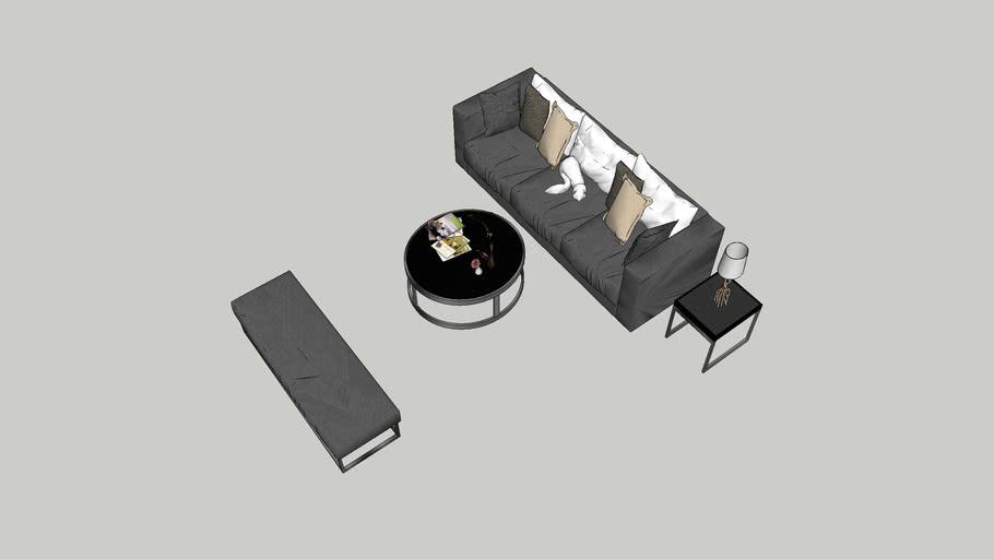 sofá, mesa lateral e centro