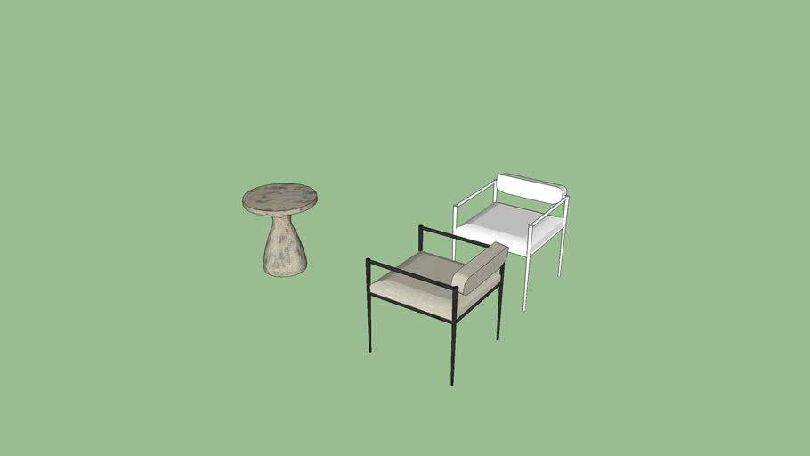 Barbana Chair Pewter Texture ARTERIORS PLUS SIDE TABLE