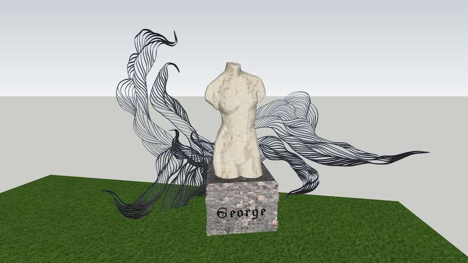 Statue With Wired Modern Structure