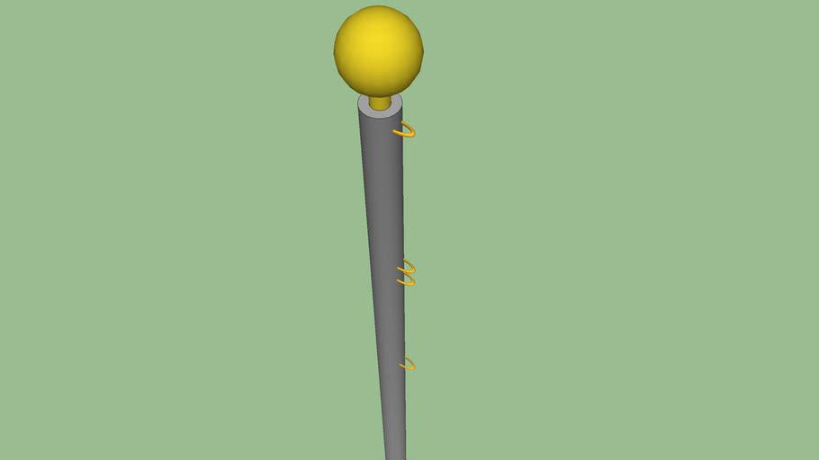 Basic Flagpole with 2 Flag Attachments