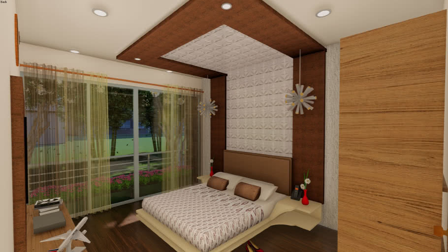 Bedroom 3d With Long Back Panel 3d Warehouse