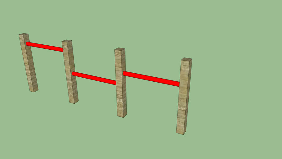 3 delig rekstok hout - rood