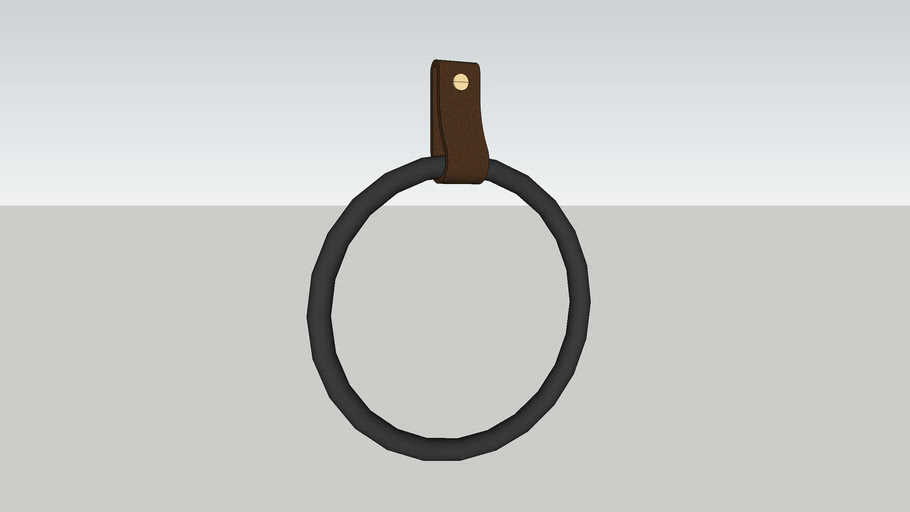 Small Round End - leather strap hanger for bath towel holder leather wall hook strap towel hook bath