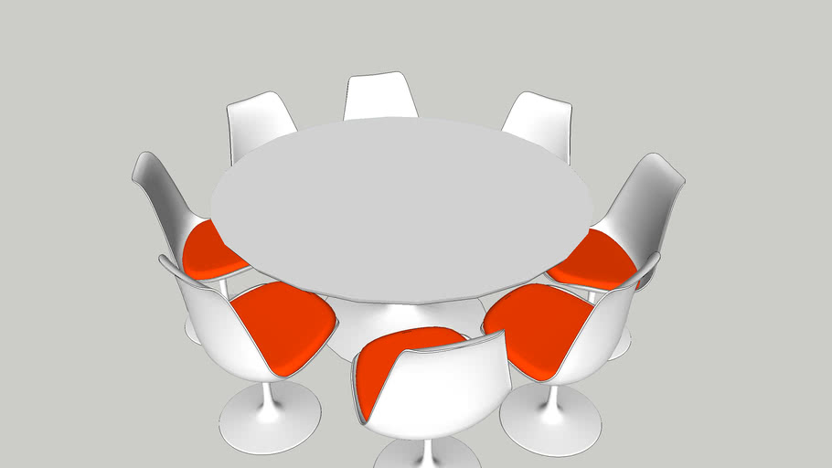 tulip tafel en 8 stoelen