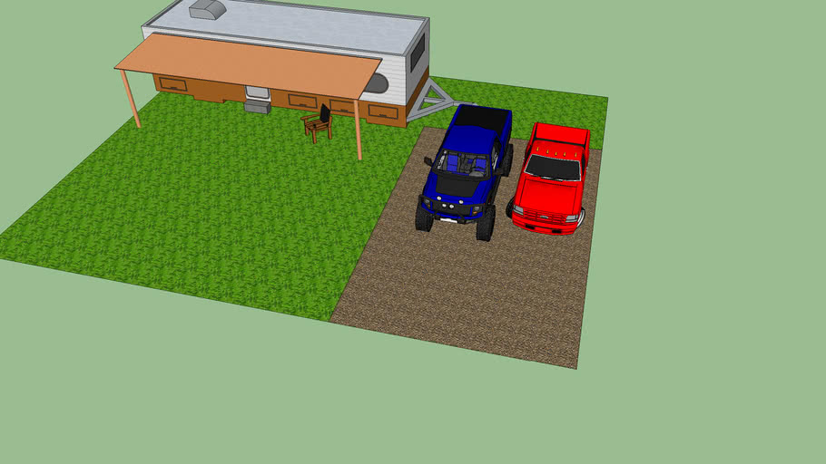trailer home with two SVT trucks outside