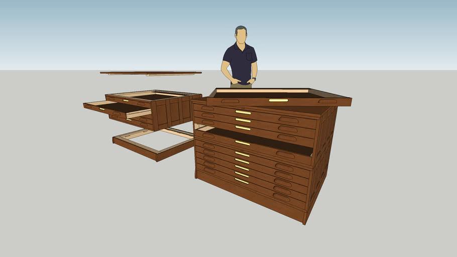Hamilton Oak Flat Drafting File Cabinet