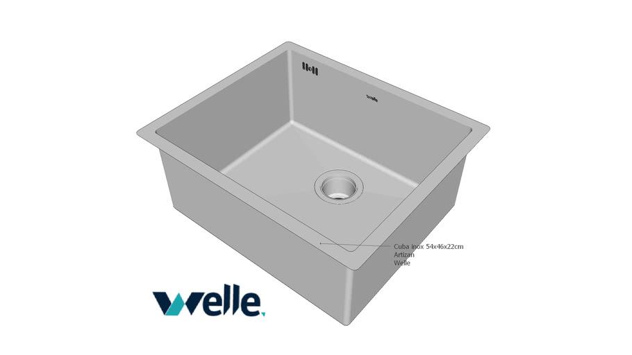 Cuba em aço inox para cozinha ARTIZAN 53x46x22 cm Welle