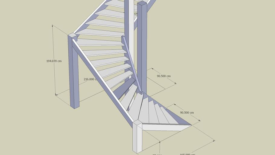 A corner stair with 2 corners an U-Turn