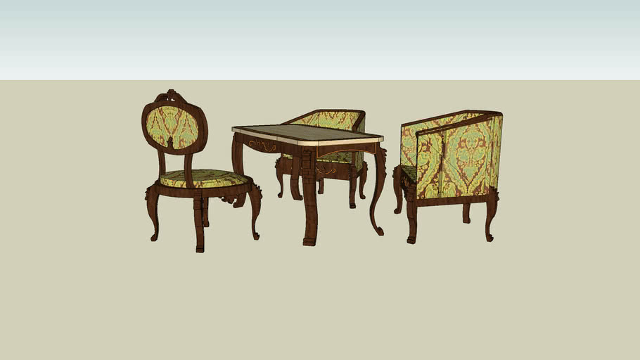 RMS TITANIC CHAIR AND TABLE  STYLE LOUIS 15 LOUNGE 1  CLASS