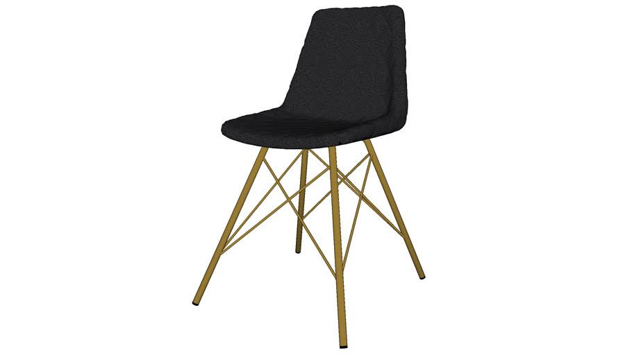 AUSTERLITZ - Chaise indus matelassée en cuir noir