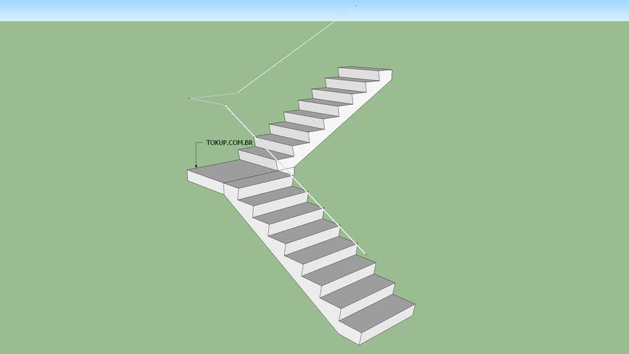 Escada Reta em L - Dois lances - Direita