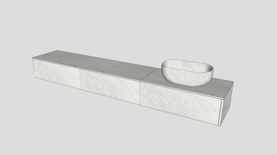 Wall-mounted modular system in Bianco Carrara marble | Salvatori | Anima L90cm modules