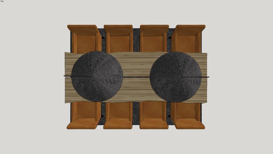 Eet Tafel Met 8 Stoelen.Eettafel Met X Frame En 8 Stoelen 3d Warehouse