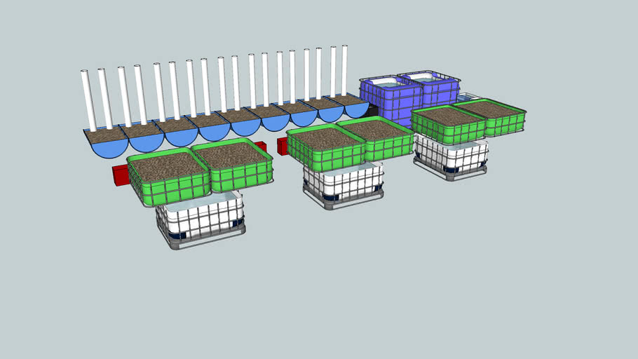 Aquaponics system 8x3.4 containers