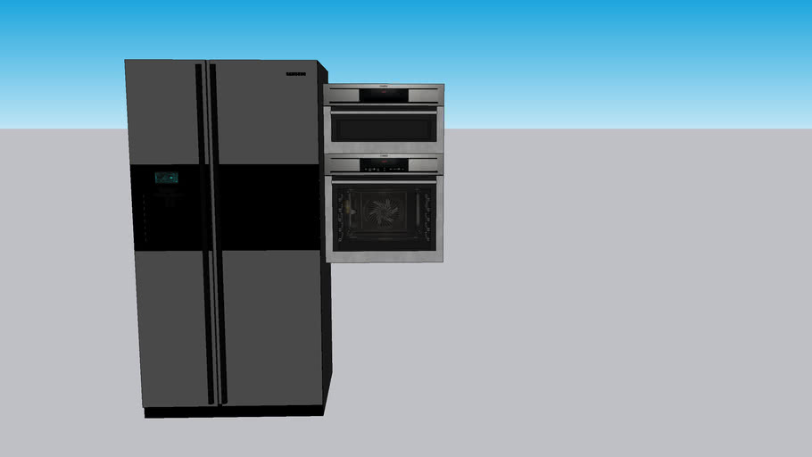 refrigerator and oven