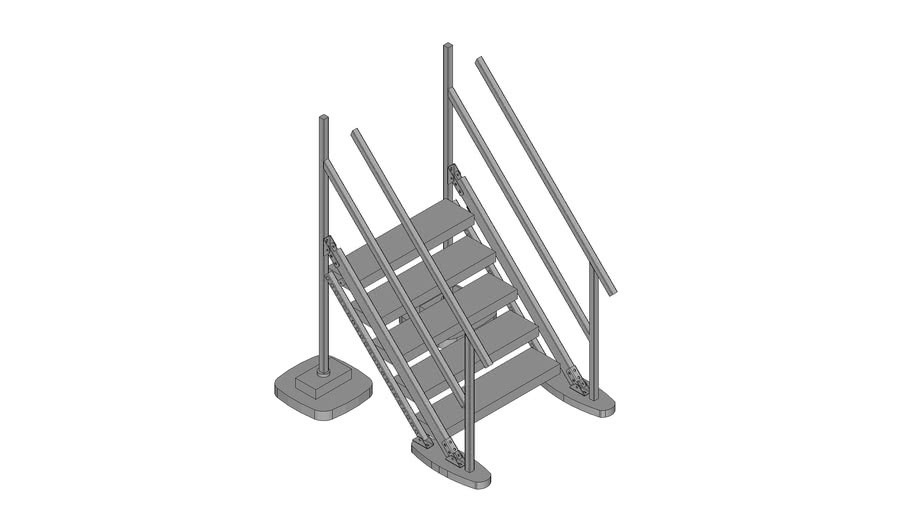 Walraven BIS Yeti® -  (LS-type) low stairs module to combine with Straight platform, H90_W100_A45