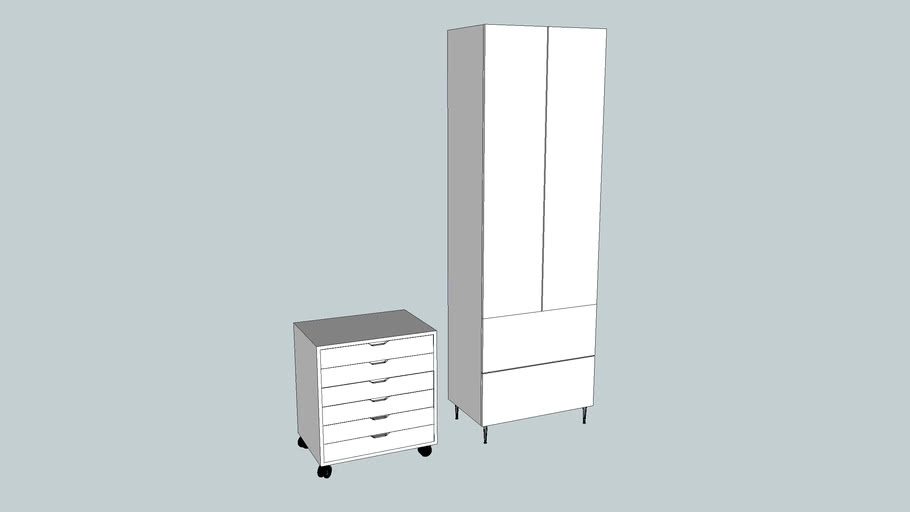 "Ikea ""AKURUM"" cabinet and ""ALEX"" drawer unit on casters"