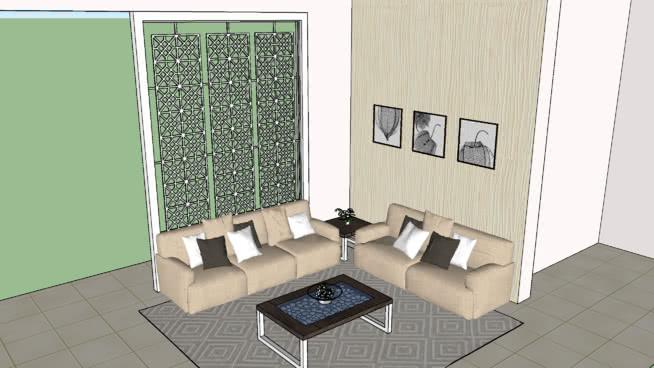 Living Room Sofa Arrangement With Jali Partaition
