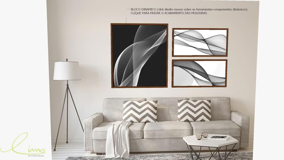 Conjunto com 3 quadros decorativos abstrato preto e branco